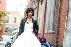 Edgy spin on typical soft bridal style! Rocker Chic Inspiration. Hayley Page Wedding Gown. Event Design by She by Shayla Hawkins. Image by Comfort Photography