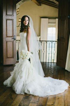 Photography: onelove photography - http://www.stylemepretty.com/portfolio/onelove-photography Wedding Dress: Vera Wang, Beverly Hills - http://www.stylemepretty.com/portfolio/vera-wang-beverly-hills   Read More on SMP: http://www.stylemepretty.com/2015/03/25/malibu-mountaintop-vineyard-wedding/