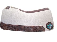 Custom Natural 100% Pure Wool 5 Star Equine Saddle Pad with Chocolate Laredo Leathers and Turquoise Embroidery! Beautiful