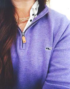 polka dot button up shirt + lavender quarter zip sweater