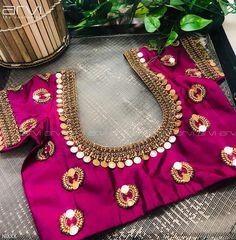 Latest kasu work blouse design - The handmade craft : Latest kasu work blouse design - The handmade craft Pattu Saree Blouse Designs, Blouse Designs Silk, Bridal Blouse Designs, Blouse Patterns, Simple Blouse Designs, Stylish Blouse Design, Churidar, Anarkali, Streetwear