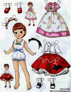 folding tabs: Paper dolls by Siyi Lin // Betsy McCall Paper Dolls Printable, Vintage Paper Dolls, Paper Toys, Doll Patterns, Doll Toys, American Girl, Paper Art, Red Paper, Doll Clothes