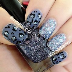 Leopard Print & Glitter Colours User: Color Club- Shabby Drab, and Jingle Jangle. - @naildecor
