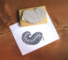 Exotic Feather Hand Carved Stamp by extase on Etsy, $10.00