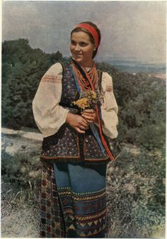 "Example of the weight and hang of the clothing ""A Ukrainian folk costume."""