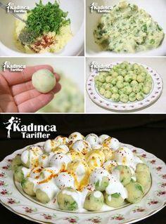 ✿ ❤ ♨ Yoğurtlu Patates Topları / Malzemeler: 2 adet iri patates, 1 tutam maydanoz, Karabiber, Nane, Tuz, Pul biber. Yoğurt sosu için; 1 kase yoğurt, 1 diş sarımsak, Tuz. Üzeri için; Tereyağı, Pul biber.