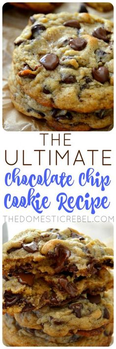 The Best Ultimate Chocolate Chip Cookies This Ultimate Chocolate Chip Cookie Recipe is the ONLY recipe you need! It produces soft, chewy, supremely chocolaty, buttery cookies with crisp edges and gooey centers. So easy, so perfect! Cookies Receta, Yummy Cookies, Gourmet Cookies, Ultimate Chocolate Chip Cookies Recipe, Gooey Cookie Recipe, Chicolate Chip Cookies, Ghirardelli Chocolate Chip Cookies, American Chocolate Chip Cookies, Best Oatmeal Cookies