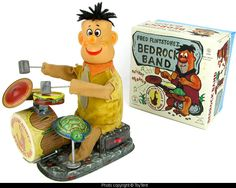 Fred Flintstone Bedrock Band battery operated drum set Alps Japan #Alps
