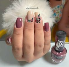 25 Modelos de Unhas decoradas com Esmalte - Gorgeous Nails, Love Nails, Pink Nails, Glitter Nails, Pretty Nails, Gel Nails, Finger Nail Art, Healthy Nails, Cute Acrylic Nails