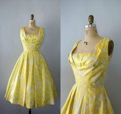 Vintage 1950s Formal - Frank Starr Yellow Silk Party Dress - Sweet Caroline