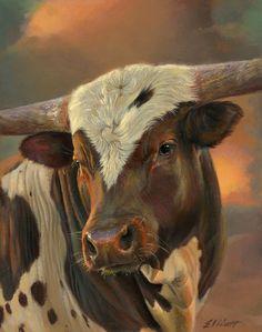 Tucker par Teresa Elliott Oil ~ 14 x 11 Longhorn Cow, Longhorn Cattle, Animal Paintings, Animal Drawings, Bull Painting, Fluffy Cows, Cow Pictures, Bull Cow, Cow Art