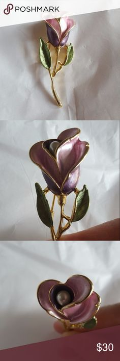 Gorgeous, detailed enamel rose pin Imagine this on a black sweater or jacket! Stunning pin/brooch with enameled petals in dark and light pink. Pearl in the flower's center. Gold tone. No maker's mark but this is NOT junk. About 2.5 inches. Jewelry Brooches