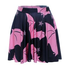 SOTW Sexy Retro Vintage Digital Print Flared Stretch Jersey Pleated Mini Skater Skirt, Pink Bat, S