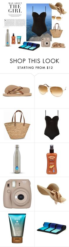 """Day at the Beach"" by monmonmamon on Polyvore featuring Kershaw, Havaianas, Tom Ford, NLY Accessories, Prism, Hawaiian Tropic, Fujifilm, Alterna and Black"