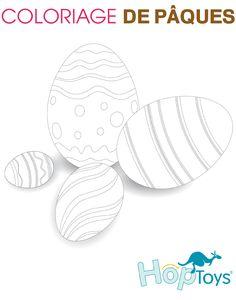 Une planche de coloriage autour des oeufs de Pâques #télécharger #handiy