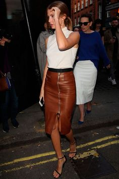 Jo-Anne Knowles in gorgeous tan leather skirt!! | tan leather ...