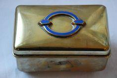 Art Deco Brass and Enamel Jewelry box