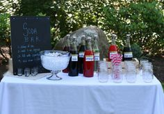 create your own soda bar! Soda Stream syrup in glass bottles, a bottle of half n half (for italian cream sodas) and sparkling soda water!