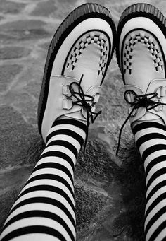 Stripes // Creepers // Goth Grunge Dark Fashion #NitroFashion  White creepers is my first love, too bad the  first creeper I bought is the black version of this style. I will collect more in the future.