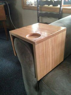 Solid oak sofa chair arm wrap tray with drink holder, can be adjusted to fit…