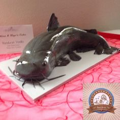 Realistic catfish cake is actually vanilla. Hunting Birthday Cakes, Bakers Gonna Bake, Sculpted Cakes, Animal Cakes, Polymer Clay Crafts, Bake Sale, Catfish, Amazing Cakes, Boy Birthday