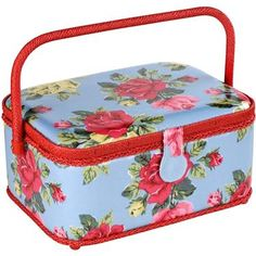 Get your sewing supplies in order with our luxury sewing basket, completed in our classic Royal Rose print and pretty red trims. The roomy design allows you store lots of sewing accessories, with built-in pin cushion, pocket inside the lid and compartmentalised removable tray that can store smaller items.  An ideal gift for seasoned sewers or great to inspire those just beginning.