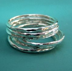 Sterling Silver Stacking Ring Set  Thin Hammered  Set by esdesigns
