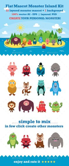 Flat Mascot Monster Island Kit - Monsters Characters