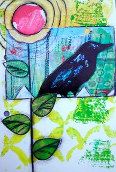 Art journal page that has one of the gelli prints as the background.  -- Lucy's Lampshade: Saturday morning bliss