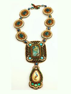 Scarab and Peacock - Statement Necklace