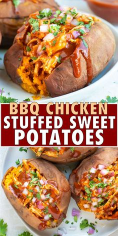 Quick Stuffed Sweet Potatoes are full of shredded BBQ chicken for an easy healthy gluten-free and dairy-free weeknight dinner recipe idea the whole family will enjoy! This stuffed sweet potatoes recipe can also easily be made into a Paleo and meal too! Healthy Meal Prep, Healthy Eating, Dinner Healthy, Healthy Chicken Dinner, Healthy Cooking, Paleo Meals, Easy Cooking, Chicken Dinner Meals, Quick Meals For Dinner