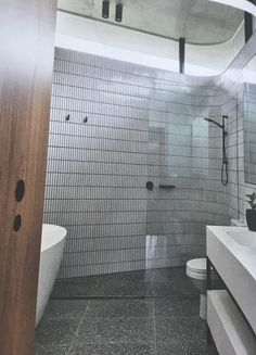 Finger tiles and terrazzo floor- or prefer stone look floortiles? Bad pic sorry! Wet Room Bathroom, Bathroom Floor Tiles, Bathroom Renos, Bathroom Layout, Bathroom Colors, Bathroom Fixtures, Classic Bathroom, Modern Bathroom, Small Bathrooms