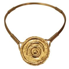 YVES SAINT LAURENT rive gauche hammered gilt collar | From a unique collection of vintage more necklaces at https://www.1stdibs.com/jewelry/necklaces/more-necklaces/