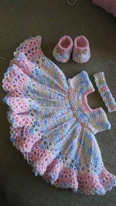 Vestido de bebé multicolor de ganchillo mano de flores de