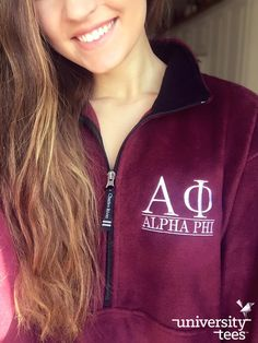 Stay warm, cozy, and adorable with the Charles River Fleece Adirondack | Alpha Phi | Made by University Tees | www.universitytees.com