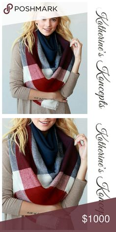 "Just in!!! Navy/Red Plaid Blanket Scarf New boutique super soft, navy/red, big plaid, oversized blanket scarf!!! 58"" x 58"" and 100% acrylic. Available in many other colors on my page. These will be $15 each! Save even more by bundling. ⛤The item you see is the exact item you will receive. Shop with confidence! ♥Brand new boutique items ♥100% Smoke and pet free environment  ♥Same or next business day shipping ♥Bundle discounts 10% ❌No trades. Sorry ladies! Katherine's Koncepts Accessories…"