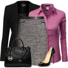The jewel-toned blouse; gorgeous. Classy outfit.