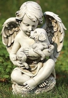 Cute Little Puppies, Dogs And Puppies, Statue Ange, Outdoor Garden Statues, Little Cherubs, Ange Demon, Garden Angels, Cemetery Art, Cemetery Angels