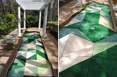 """Even more reason for you all to be jealous of those who live in Austin. Faceted mini golf! """"Polygolf"""" by THOUGHTBARN for AMOA's """"Art on the Green"""" @Capree Kimball @Jaime Derringer @Jonathan Lo How much do you love this?"""
