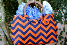 Orange and Blue Chevron Patter Purse with Wood by LaureMartin