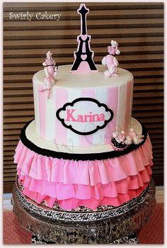 Karina's French Poodle Ruffle Birthday Cake Vanilla cake w/French vanilla bean cream