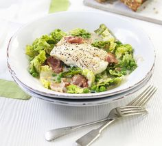 Healthy Fish Recipes - Cod with bacon lettuce peas - Low-Carb Pea Recipes, Fish Recipes, Seafood Recipes, Low Carb Recipes, Cooking Recipes, Healthy Recipes, Diabetic Recipes, Healthy Meals, Healthy Food