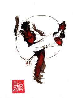 Illustration : Capoeira – 713 [ #capoeira #watercolor #illustration]