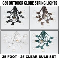 25 Foot G30 Outdoor Lighting Patio Party Globe String Lights - 25 Clear Bulb Set #NoveltyLightsInc