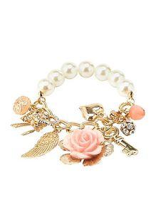 Rosette, Key & Pearl Charm Bracelet: Charlotte Russe #charlotterusse #charlottelook