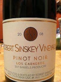 2008 Robert Sinskey Pinot Noir - Looking forward to visiting next month