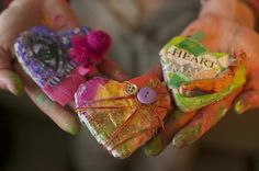 Tutorial on how to make paper mache hearts.  Looks easy and fun!! by arlene