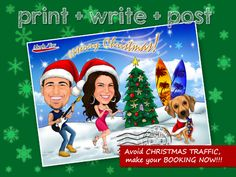 Christmas Caricature open for booking now through our Etsy Store : AlephTavgiftshop ! As we often have orders piling in during november, sometimes we have to turn down last minute orders because the lists are full. This year, we encourage customers to place order early to avoid the long wait. We can finish the artwork & send them out early. You can print it later then send out your warmest greetings to friends & families ! Grab your one-of-a-kind caricature now !