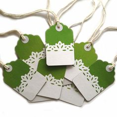 20 Lime Green Lace Kraft Gift Tags, All Repurposed, Recycled Materials, Hand Punched, Hand Stamped