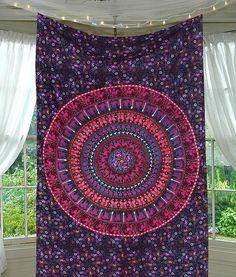 Sashia Mandala Bohemian Boho Purple Mix Wall Beach Bed Tapestry
